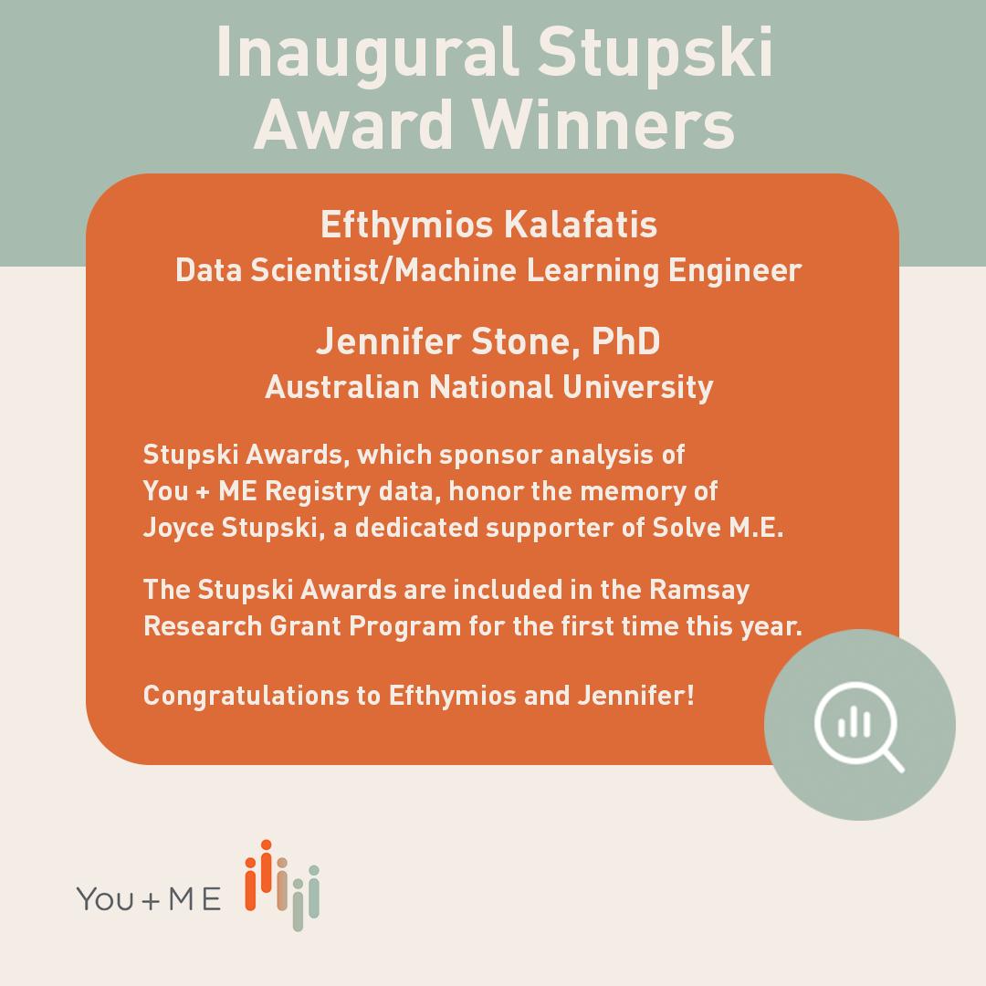 Inaugural winners of the new Stupski Awards supporting data analysis are Jennifer Stone, PhD and Efthymios Kalafatis.